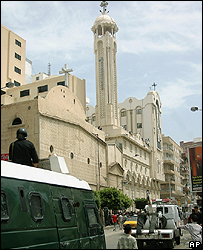Police outside Saints Coptic Church in Alexandria