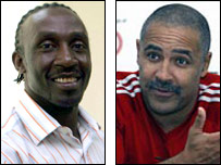 Linford Christie (left) and Daley Thompson