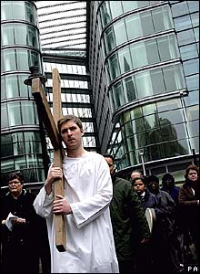 A cross being taken to Westminster Cathedral, London
