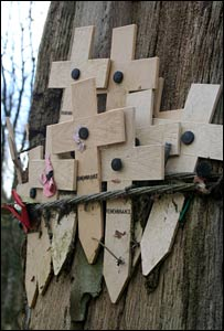 Wooden crosses at the section of preserved trench known as Hill 62