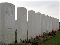 Gravestones at the Ypres cemetery