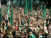 Hamas supporters in Gaza City
