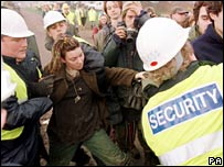 Protester being arrested at Newbury
