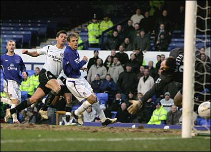 Chelsea's John Terry scores the equaliser against Everton at Goodison Park in October