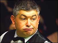 John Parrott looks bemused in his first-round match against Graeme Dott
