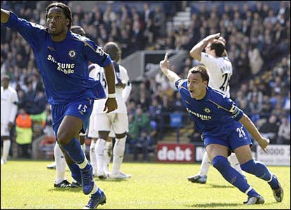 Didier Drogba and John Terry celebrate the opening goal