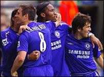 Lampard celebrates after scoring Chelsea's second at Bolton
