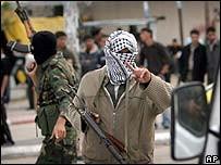 Armed Palestinian policemen in Khan Younis