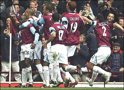 West Ham celebrate as Shaun Newton puts them into the lead
