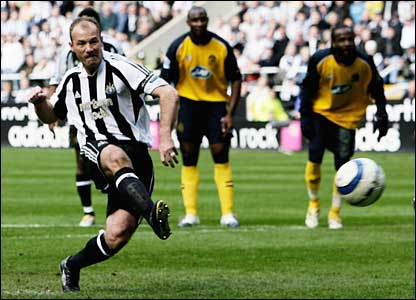 Alan Shearer scores from the penalty spot for Newcastle