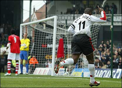 Luis Boa Morte celebrates his first goal for Fulham