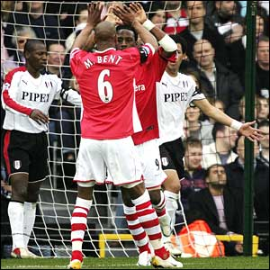 Jason Euell is congratulated by for his equaliser by team-mate Marcus bent