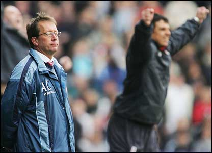 Charlton boss Alan Curbishley and Fulham manager Chris Coleman demonstrate different reactions to Fulham's second goal