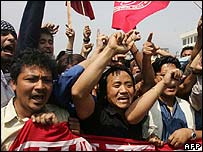 Pro-democracy protesters in Kathmandu, Nepal