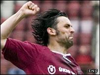 Paul Hartley celebrates scoring against Kilmarnock