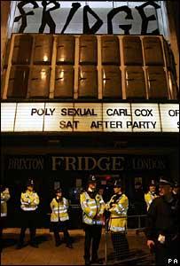 Police outside the Fridge nightclub