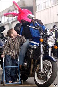 Biker Karen McConnall and Grant Wetherall outside The Royal Hospital For Sick Children in Glasgow