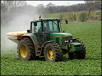 Farmer spraying a sugar beet crop (Image: BBC) 