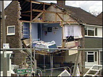 The collapsed house in Ridley Road