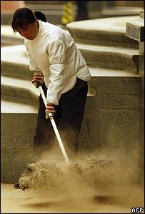 Sand cleared away in Beijing