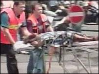 Paramedics evacuate injured person from blast scene in Tel Aviv