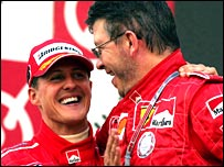 Michael Schumacher with Ferrari technical director Ross Brawn