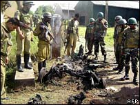 Police at Vavuniya blast site