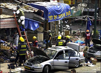 Scene of the suicide bombing in Tel Aviv