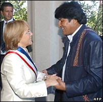 Chile's Michelle Bachelet and Bolivia's Evo Morales