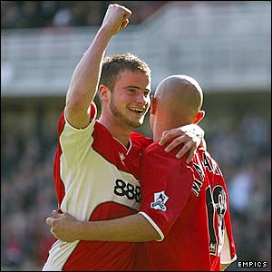 Middlesbrough's Matthew Bates congratulates Massimo Maccarone
