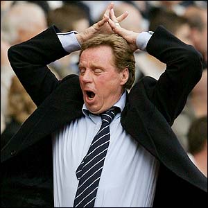 Portsmouth manager Harry Redknapp shows his frustration as his team head for defeat