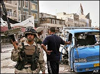 Iraqi troops after insurgent attack in Baghdad