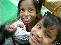 Slum children from New Delhi in a charity school