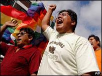 Protesta de inmigrantes bolivianos en Argentina