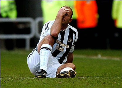 Alan Shearer waits for treatment at the Stadium of Light