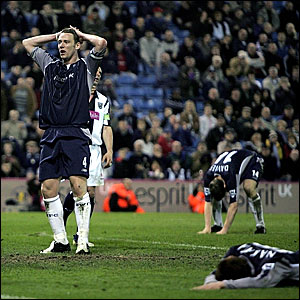 Kevin Nolan reacts to missing a chance to win the game for Bolton