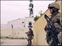 US troops on patrol in Ramadi