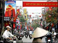 Banner in Hanoi announces Communist Party congress