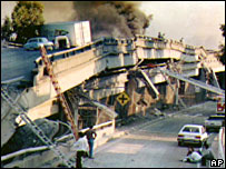 The Cypress freeway damaged by the 1989 earthquake