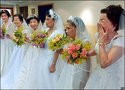 Taiwanese former 'comfort women' in Taipei County pose in wedding dresses