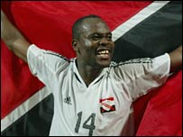 Stern John celebrates after Trinidad qualify