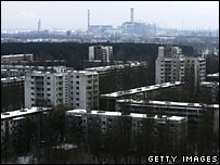 The abandoned city of Pripyat stretches out in front of the Chernobyl plant