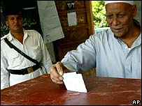 An Egyptian man voting