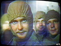 """Imagen en televisión de """"liquidadores"""" de Chernobyl"""