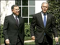 President Bush after meeting Lebanon's PM Siniora at the White House