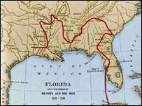 Mapa del viaje de Hernando de Soto (foto gentileza Biblioteca del Congreso de EE.UU. http://international.loc.gov/intldl/eshtml/es-1/es-1-2-2.html)