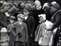 Jewish arrive at the Auschwitz concentration camp in Poland in 1944