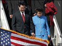 Presidente chino Hu Jintao con su esposa en Estados Unidos.