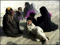 Afghan refugees at Makaki camp