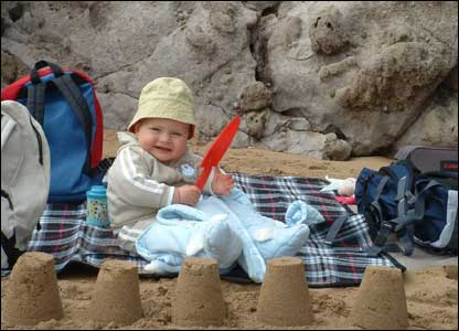 Nick Brown sent this shot of 10-month-old son Harvey making his first sandcastles at Barafundle Bay